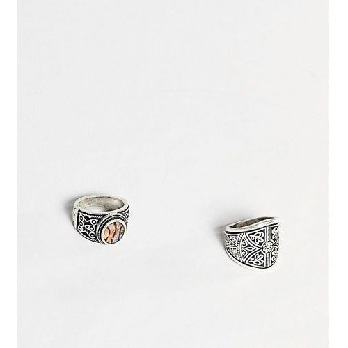 2 pack engraved rings - silver marki Sacred hawk
