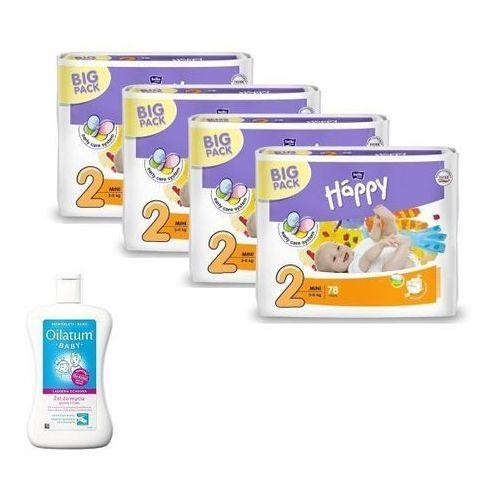 Tzmo s.a. Pieluszki happy mini 4x78szt. + oilatum baby płyn do kąpieli taniej! (5900516602840)