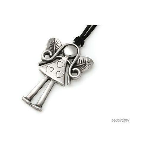 Wisiorek szcz??liwy anio?ek metal amulety talizmany kolor czarny marki Jubileo.pl