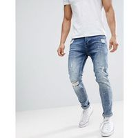 Stradivarius Slim Tapered Jeans With Paint Splat In Mid Blue - Blue