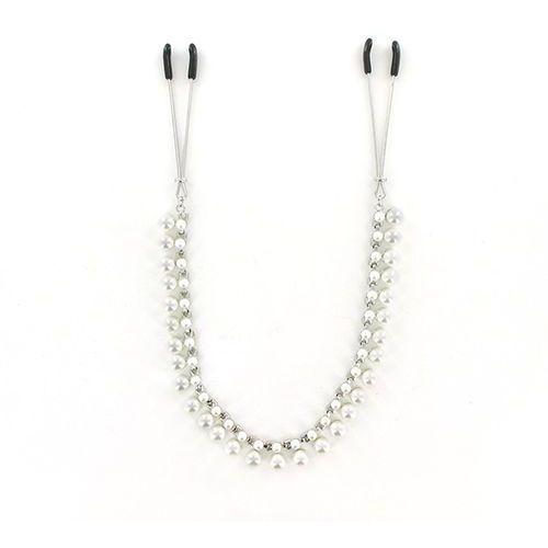 Zaciski na sutki z łańcuszkiem pereł -  midnight pearl chain nipple clips marki Sportsheets