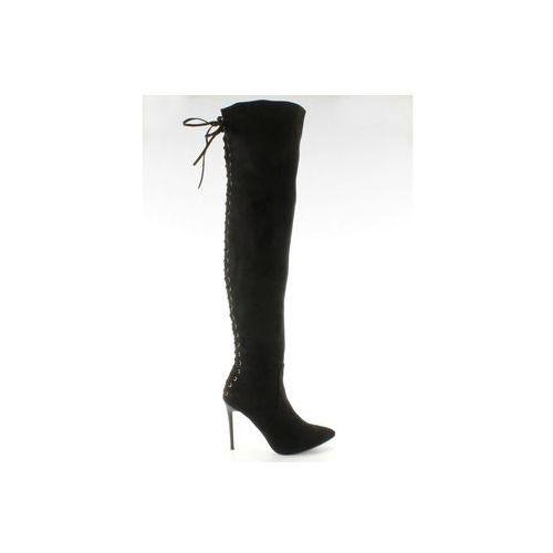 Buty obuwie damskie Muszkieterki sznurowane z tyłu sy-12 black