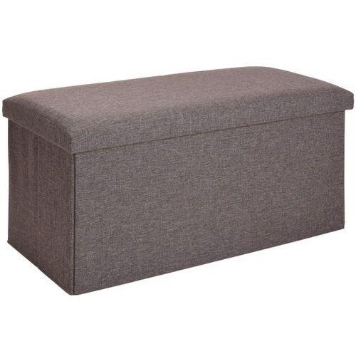 Podłużna pufa, pojemnik z pokrywą - 2 w 1, kolor szary - OKAZJE