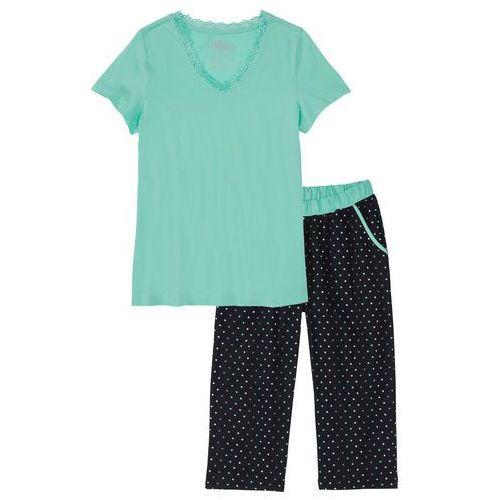 Piżama ze spodniami 3/4 bonprix niebieski mentolowy - czarny w kropki, w 4 rozmiarach