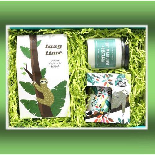 Cup&you cup and you Zestaw prezentowy na wyjątkową okazję lazy time box. zestaw 10 herbat różnego rodzaju i smaku 10x 5g, pachnąca sojowa świeca i uroczy kubek z zaparzaczem w leniwce