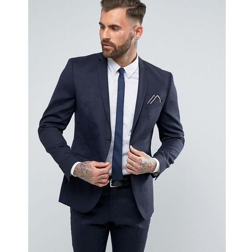 Selected Homme Slim Suit Jacket in Wool Mix with Stretch Lining - Navy, kolor szary