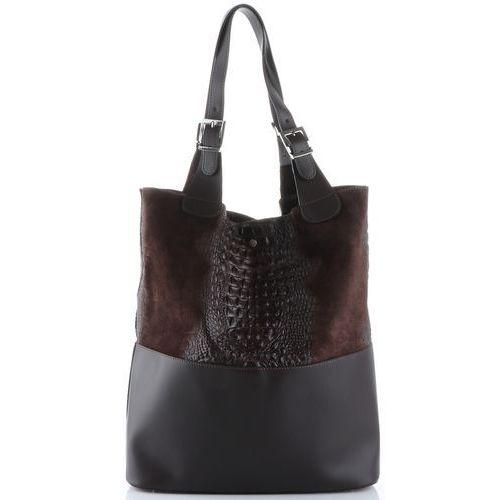 820db1089b8a8 Torebki · Uniwersalne torebki skórzane typu shopperbag xxl z kosmetyczką wzór  aligatora czekoladowe ...
