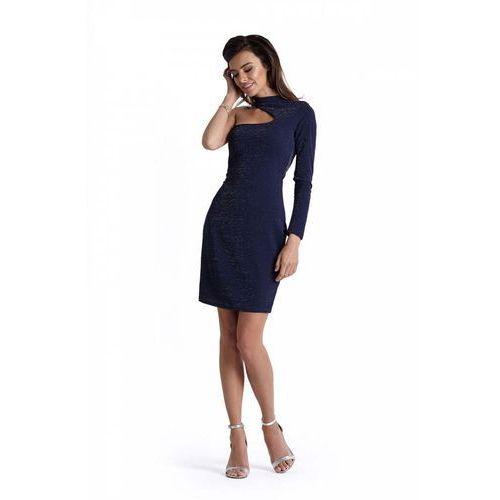 Granatowa ołówkowa połyskująca sukienka na jedno ramie z chokerem marki Ivon