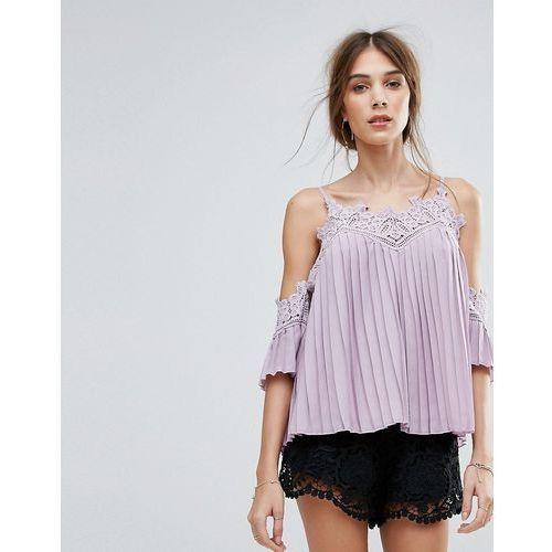 New look  pleated crochet cold shoulder top - purple