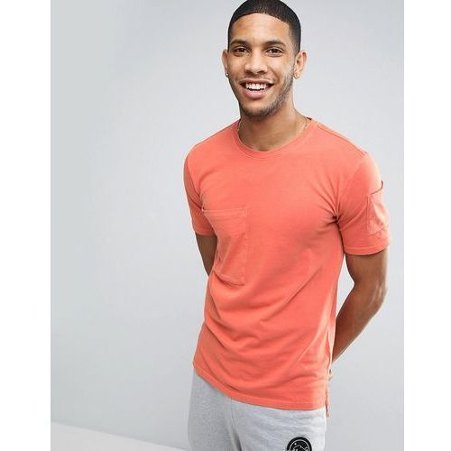 Only & sons  longline t-shirt with step back hem and pockets in organic cotton - orange
