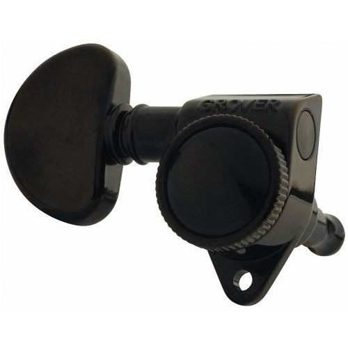 Grover Rotogrip Standard 502BC blokowane klucze gitarowe, 3+3 (czarny chrom)