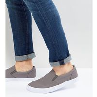 ASOS Wide Fit Slip On Plimsolls In Grey Canvas - Grey