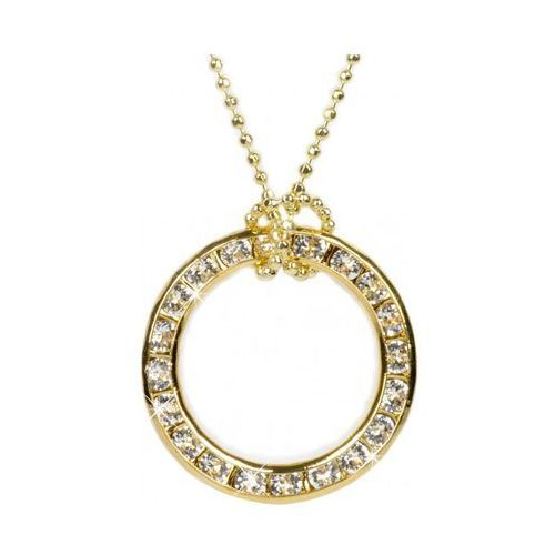 Troli naszyjnik koło złota 20 mm crystal