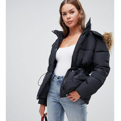 padded coat with fur trim and waist detail in black - black marki Boohoo