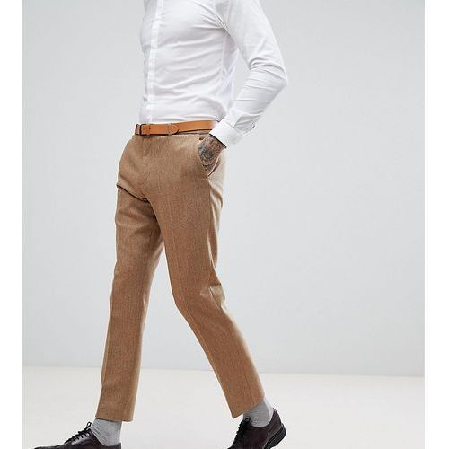 Heart & dagger slim stretch suit trousers in herringbone tweed - tan