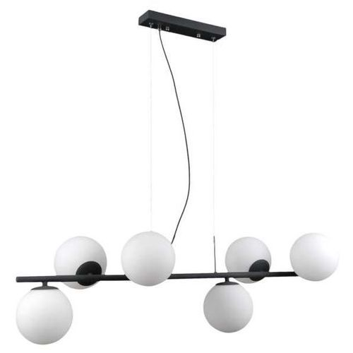 Modernistyczna lampa wisząca raddi pnd-5510-6-bk metalowa oprawa zwis szklane kule cumulus condi grafitowe białe marki Italux