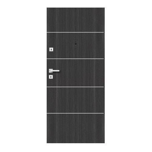 Drzwi zewnętrzne drewniane Dominos Alu 90 prawe grafitowe
