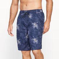 Bokserki kąpielowe z materiału z nadrukiem w palmy, kolor niebieski