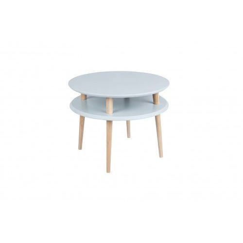 Stolik kawowy do małego salonu drewniany UFO średni -kolor jasnoszary/ kolor nóg naturalny buk, uniw-RAGABAUFO28
