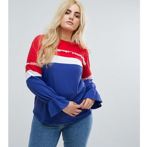Asos curve t-shirt with contrast panelling and pretty detail - multi