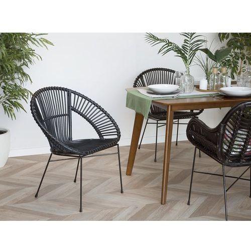 Beliani Zestaw 2 krzeseł rattanowych czarne sarita (4260602372226)