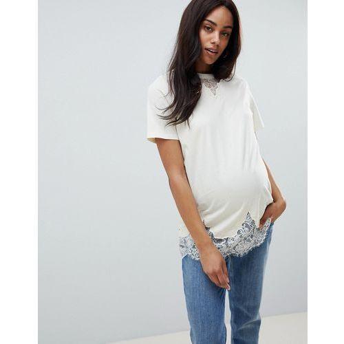 Asos design maternity lace mix longline t-shirt in cream - cream, Asos maternity