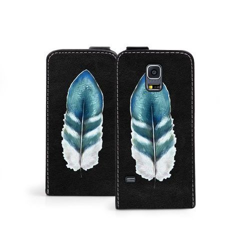 Samsung Galaxy S5 Mini - etui na telefon Flip Fantastic - turkusowe piórko