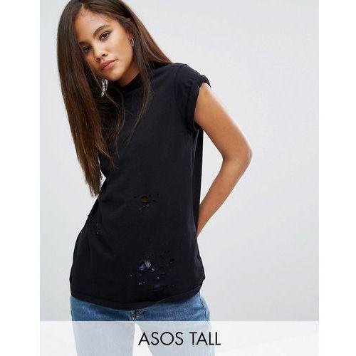 ASOS TALL T-Shirt in Boyfriend Fit with Distressed Detail - Black, kup u jednego z partnerów