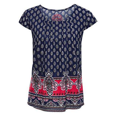 Shirt z nadrukiem, krótki rękaw kobaltowy marki Bonprix