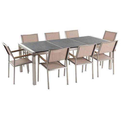 Meble ogrodowe - stół granitowy 220 cm czarny palony z 8 beżowymi krzesłami - GROSSETO (7081459239060)
