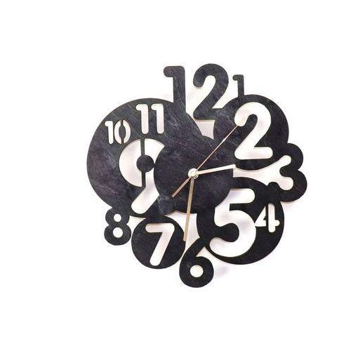 Congee.pl Drewniany zegar na ścianę abstrakcja ze złotymi wskazówkami (5907509932434)