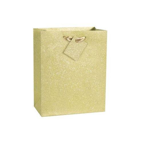 Brokatowa torebka prezentowa średnia - złota - 1 szt. marki Unique