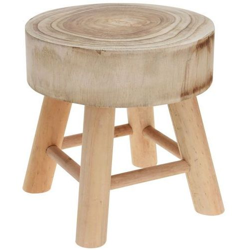 Home styling collection Stołek z drewna naturalnego, okrągły - taboret, podnóżek