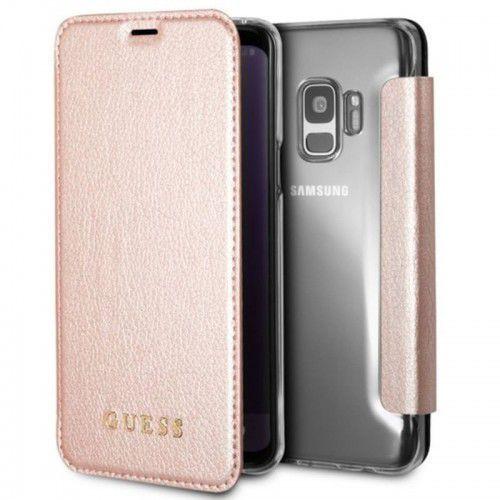 Guess Iridescent Book - Etui Samsung Galaxy S9 z kieszeniami na karty (różowe złoto), GUFLBKS9IGLTRG