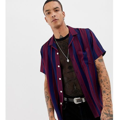 striped revere shirt in navy and burgundy with short sleeves - navy marki Heart & dagger