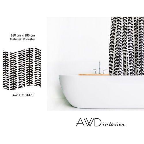 zasłonka prysznicowa biała z czarnym nadrukiem awd02101473 1473 marki Awd interior