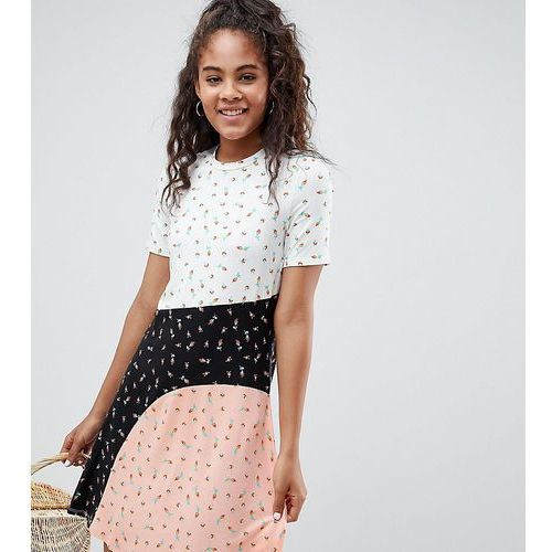 Asos design tall t-shirt dress in colour block ditsy print - multi, Asos tall