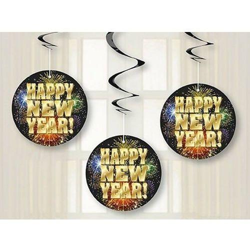 Unique Dekoracja wisząca świderki fajerwerki happy new year - 68 cm - 3 szt.