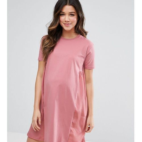 Asos maternity  t-shirt dress with woven side panels - pink