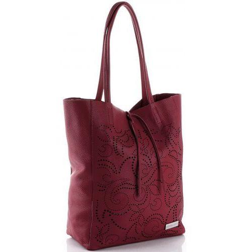 Ażurowe Uniwersalne Torebki Skórzane Shopper XL firmy Vittoria Gotti Bordowe (kolory)