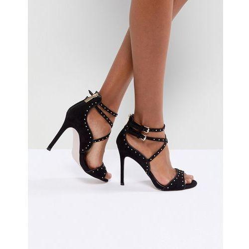 faleece studded heeled sandals - black, Miss kg