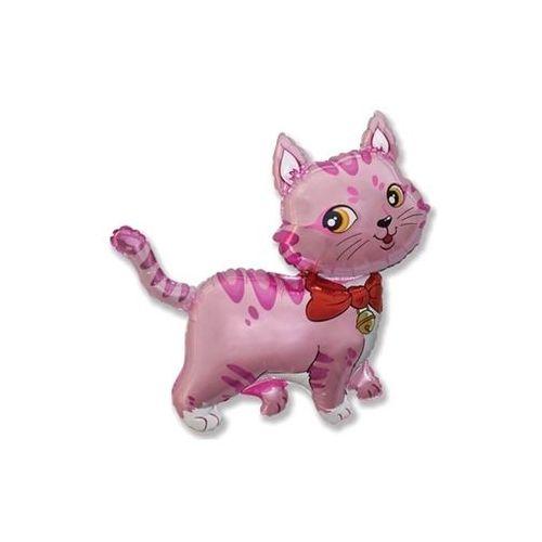 Go Balon foliowy do patyka różowy kotek - 36 cm - 1 szt.
