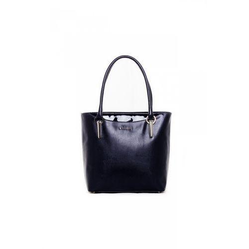 Granatowa torebka z lakierowanym przeszyciem - Franco Bellucci, kolor niebieski