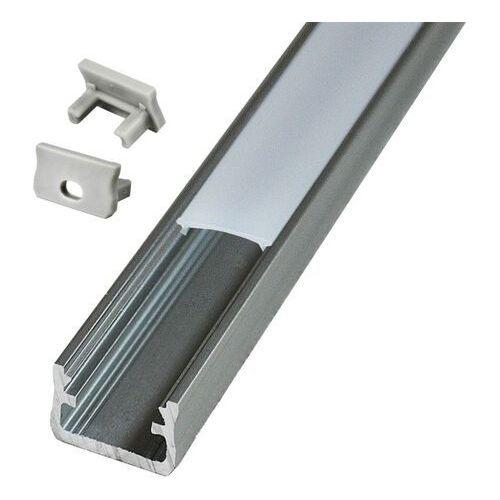 Zestaw profil natynkowy typ A Polux 2 m z kloszem i zaślepkami aluminium (5901508312617)