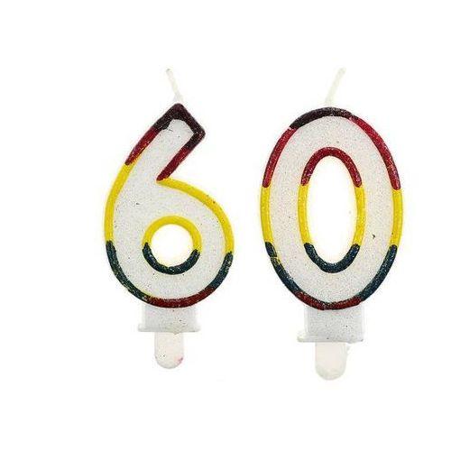 Świeczki cyferki z brokatem - 60 - sześćdziesiątka - 2 szt. marki Godan
