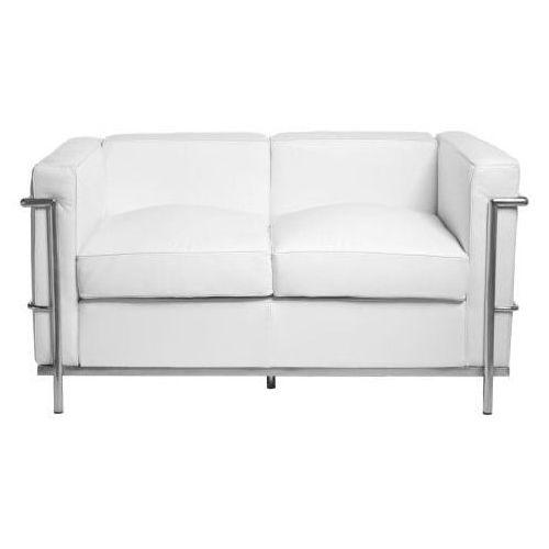 Sofa 2-osobowa Kubik biała skóra TP, kolor biały