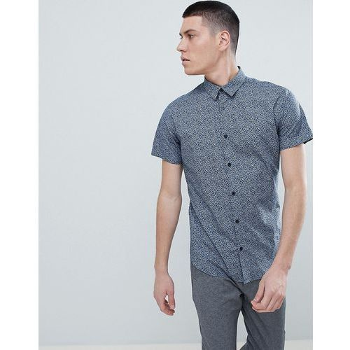 Selected Homme Short Sleeve Shirt With All Over Ditsy Print - Navy