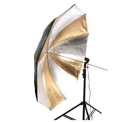 Parasolka dwuwarstwowa, reflektor srebrno-złoty, 152cm - produkt z kategorii- Parasole fotograficzne