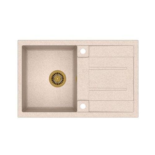 Zlew granitowy ze złotym syfonem Quadron Morgan 111 - Beżowy