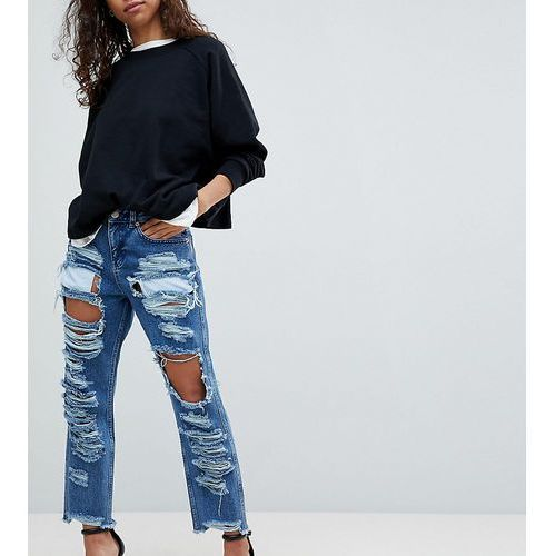 original mom jeans in authentic mid wash with extreme super busts - blue, Asos petite